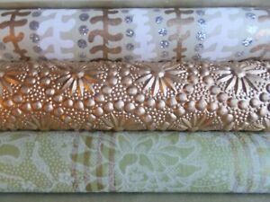 3 Rolls Fine Christmas Holiday Gift Wrap Paper Green Emboss Gold Silver White