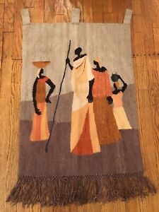 """SETSOTO DESIGN, Lesotho African Figures Tapestry Wall Hanging 24"""" x 42"""""""