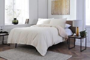 Cotton Linen Mix Duvet Cover Set Linen Beige and White Stripe King Bed Size