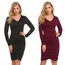 Women Fashion V-Neck Long Sleeve Solid Ruched Bodycon Slim Pencil Dress GFEQ