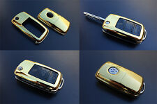 GOLD VW Car Remote Flip Key Cover Case Skin Shell Cap Fob Protection ABS -09