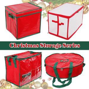 Christmas Storage Bag Wreath Round Ball Gift Xmas Decoration Storage Boxes UK