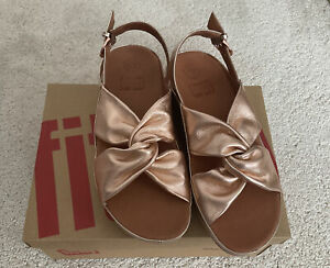 Ladies Fitflop Twiss Rose Gold Leather Back Strap Sandals UK5 New In Box