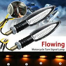 2x Motorcycle 24LED Turn Signal Light Sequential Flowing Indicator Lamp Amber