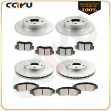 Fit Acura TSX HONDA ACCORD Front+Rear drilled Slotted Brake Rotors Ceramic Pads