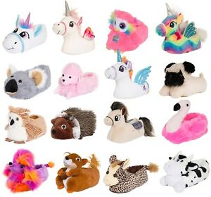 Womens Girls Animal Slippers Novelty 3D Character Plush Slippers Ladies Booties