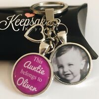 Personalised Photo Keyring - Purple - Belongs to - Christmas Present Gift - Box