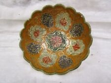 Cloisonne Collector Bowl with Orange And Red Floral Pattern