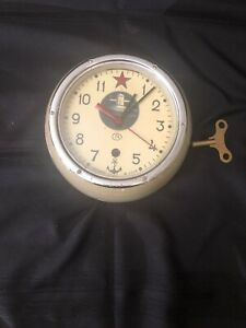VINTAGE SOVIET NUCLEAR RUSSIAN SUBMARINE CLOCK WITH KEY WORKING KAUAHGUUYCKUE