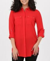 Ladies Long Shirt with Pockets Red Long roll-up Sleeves Tunic NEW Sizes 6-8-10