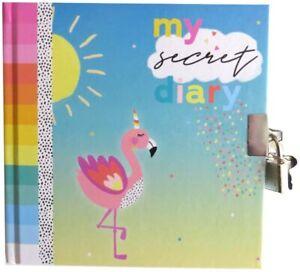 1x Kids Lockable Flamingo/Zebra Secret Diary Girls Padlocked Journal & Lock