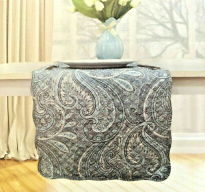 """Waverly Paisley Table Runner Reversible Quilted 13x72"""" Rhapsody Blue Grey"""
