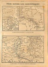 Map Carte France Belgique British Army Russia Front Poland Austria War WWI 1914