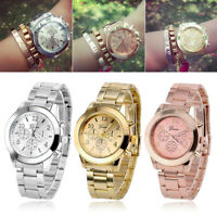 Luxury Geneva Ladies Women Girl Unisex Stainless Steel Quartz Wrist Watch