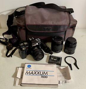 MINOLTA MAXXUM 7000 SLR CAMERA w/Minolta AF Zoom 80-200mm Macro LENS