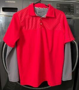 NIKE 2 Fer 1 Long Sleeved Red Gray Athletic GOLF Shirt Collared Boys sz XL - EUC