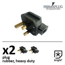 2 x 13 Amp Permaplug Rubber Plug 13A Heavy Duty Mains Electrical 3pin Black