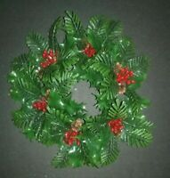 Vintage Christmas Plastic Evergreen Holly Detachable Centerpeice Candle Wreath