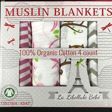 "La Libellule BeBe Muslin Baby Blankets 43"" x 43"" Bamboo 4 Pack NEW Girl Pink"