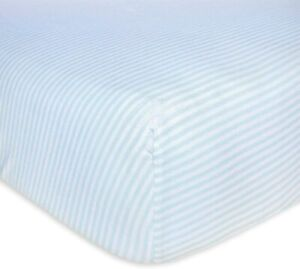 Burt's Bees Baby Fitted Crib Sheet Boys & Unisex 100% Organic Cotton Blue Stripe
