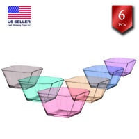 Glass Serving Bowls Set of 6, Square Colorful Prep Bowls for Kitchen, 10.25 oz