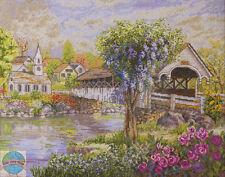 Cross Stitch Kit ~ Plaid-Bucilla Old Fashioned Village and Covered Bridge #45667