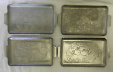 Hammered Aluminum Metal Tray Set Lot of 4 Fruit Grain Farm Harvest Vintage