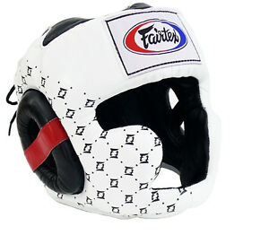 Fairtex Super Sparring Head guard Muay Thai MMA Kick Boxing Headgear HG10 White