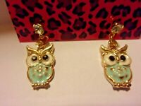 NWT BETSEY JOHNSON OWL ENAMEL CRYSTAL STUD EARRINGS