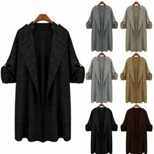 Plus Size Womens Long Coat Jacket Casual Cardigan Overcoat Windbreaker Loose Top