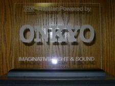 ONKYO HOME THEATER ETCHED GLASS SIGN W/BLACK OAK BASE
