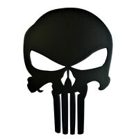 8 inches Grille Badge Emblem Aluminum Billet Punisher Logo Matte Black Powder