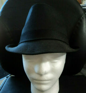 Unbranded Men's Man's Black Canvas Fedora Hat With Band Size 7 1/8 Lightly Worn
