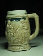 vintage pottery beer mug stein man woman dog house German style Japanese