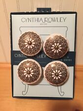 Cynthia Rowley White Ceramic Antique Gold Round Dresser Cabinet Pulls Knobs NIB