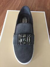 NIB $160 Michael Kors Michelle Charcoal Suede Jeweled Slip On Sneakers Sz 5M