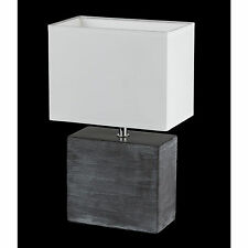 Honsel lámpara de mesa Log 1 luz cerámica marrón Pantalla BLANCO INTERRUPTOR