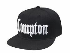 Compton Flat Bill Snapback Adjustable Baseball Cap Hat (Black)