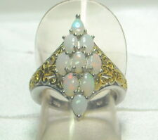 2.35 ct Natural Welo Opal Ring 18k YG Platinum /.925 Size 7