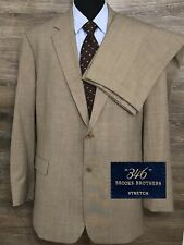 Brooks Brothers 346 Stretch Men's Wool 2 BTNS Tan Designer Modern Suit 48L 40X30