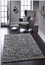 ROCKS SHAGGY JELLYBEAN RUG HANDMADE FELTED WOOL RUG 120 X 170 NEW GREY/CREAM