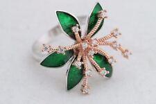 Turkish Jewelry Flower Style Green Enamel Topaz 925 Sterling Silver Ring Size 7