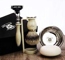 5 Pezzi Set da barba Gillette MACH 3 & Pinne BIANCHE Badger Pennello Maschile Toelettatura Kit