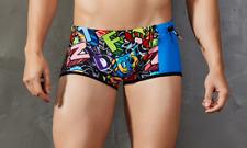 Mens Large Funky Letters Spandex Swim Square Cut Trunks Shorts Gay Interest UK