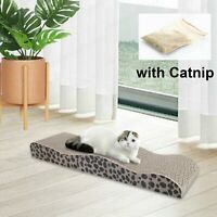 Wave Shape Cat Scratching Corrugated Board Scratcher Bed Pad Toy with Catnip