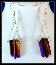 New Crimson Titanium Druzy crystal dangle EARRINGS w French wires - SHIP FREE