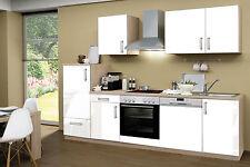 Einbauküche Hochglanz Weiß 270 cm incl. E-Geräte mit Geschierspüler