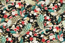 Fabric #2570 Peacocks Florals on Black Gold Metallic Quilt Gate Sold by 1/2 Yard