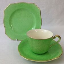 Royal Winton Grimwades Tea Trio Cup Saucer Plate Mottled Green And Gilt Art Deco