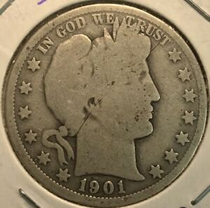 1901-O BARBER HALF DOLLAR US SILVER (NEW ORLEANS)